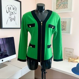 Vintage Kelly green jacket/blazer with pearls